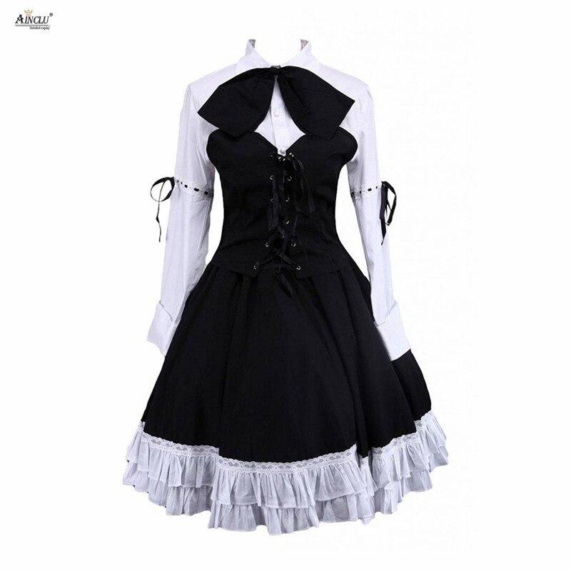 Vestido Lolita trajes algodón blanco manga larga blusa Lolita y Negro falda Lolita Punk Chicas lindas Lolita trajes fiesta Club XS-XXL