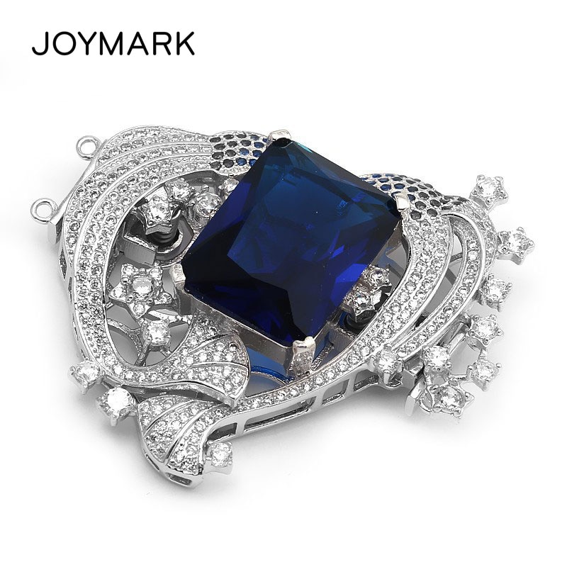 Royal Blue Crystal 2 Strands Heart Shape Silver Clasp Zircon Pave S925 Sterling Silver Connector For Pearl Necklace SC-CZ022