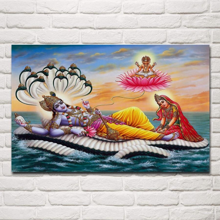 Señor vishnu en el mar indio dios hindú diosa sala de estar hogar Arte de la pared Decoración marco de madera y tela póster EX504