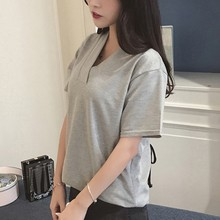 2018 XXXL 5XL Summer T Shirt Large Sizes Women T-shirt Solid V Neck Short Sleeve Rounded Hem Long tshirt Casual Top female Tunic