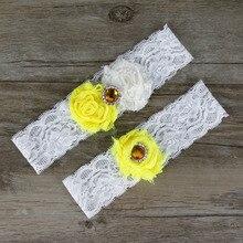 2pcs/Lot Pretty Wedding Garters Set Classical Dimond Beaded Bridal Toss Garter Yellow & Cream Customize size Keep Garter