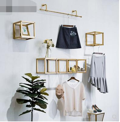 On the clothing store The Wall clothes rack display rack golden simple iron wall-mounted simple modern decoration bag display