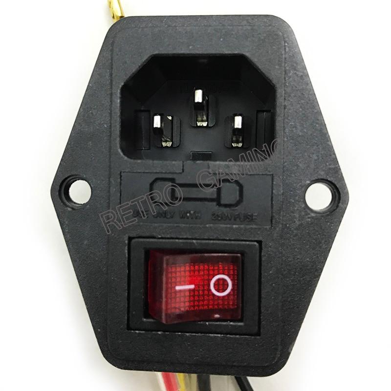 Interruptor de encendido/apagado con enchufe hembra para cable de alimentación Jamma arcade máquina IO interruptor con fusible