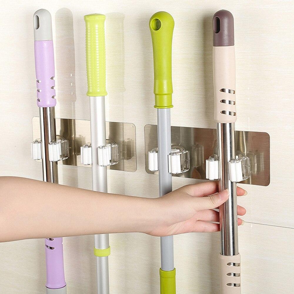 Practical Home Wall Mounted Mop Organizer Holder Brush Broom Hanger Storage Rack Kitchen Tool