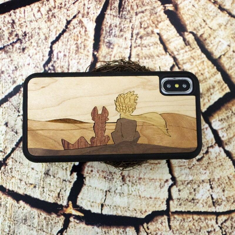 El principito de madera real teléfono móvil carcasa para iPhone 6 S 7 8 plus X S retro negocio teléfono shell