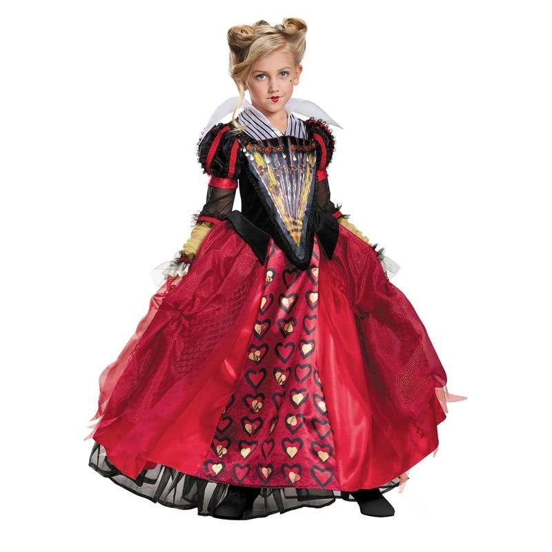 Criança de luxo vermelho rainha traje