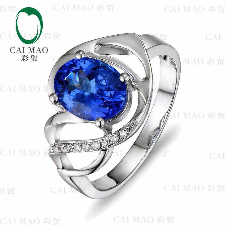 CaiMao 18KT/750 Ouro Branco 2.0 ct Natural SE Azul AAA Tanzanite 0.05 ct Round Cut Diamond Engagement Gemstone anel Da Jóia
