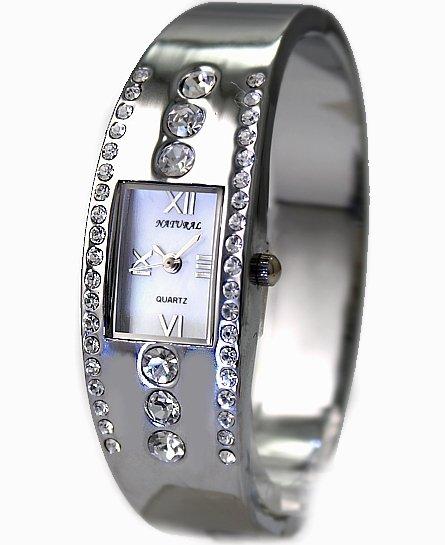 ALEXIS New Fashion Crystal Stylish New Shiny Silver Band  Shiny Silver Ladies Women White Dial Bangle Wrist Watch FW642B