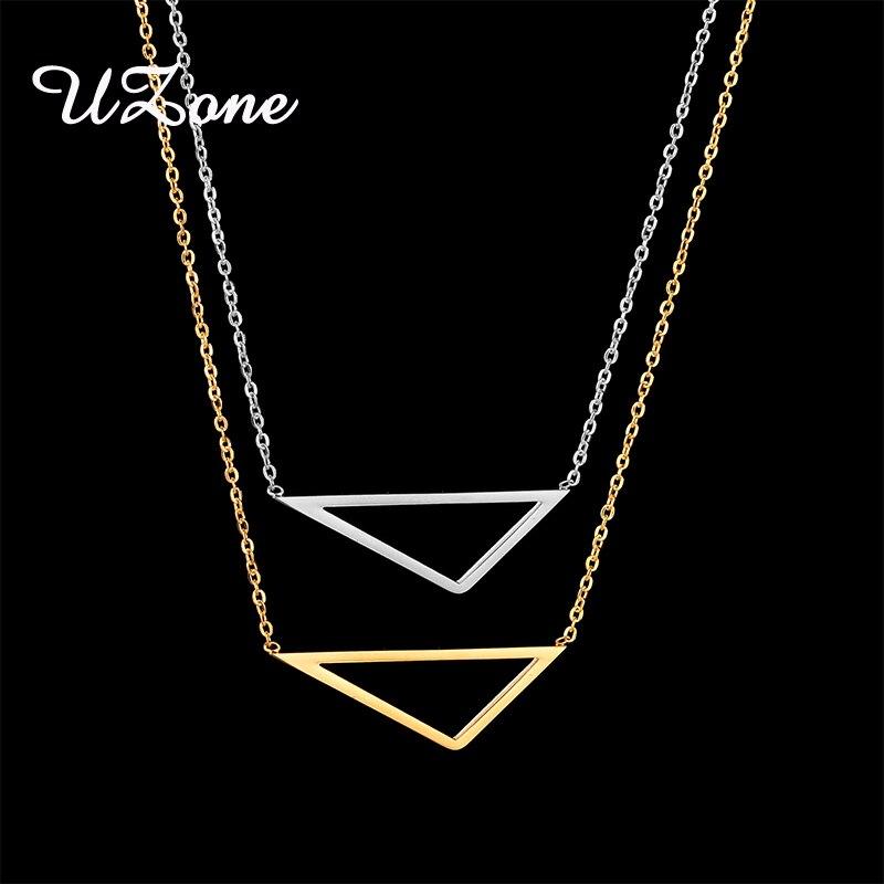 UZone Simple creux Triangle pendentif collier en acier inoxydable géométrique collier pour les femmes BFF cadeau collier Colar