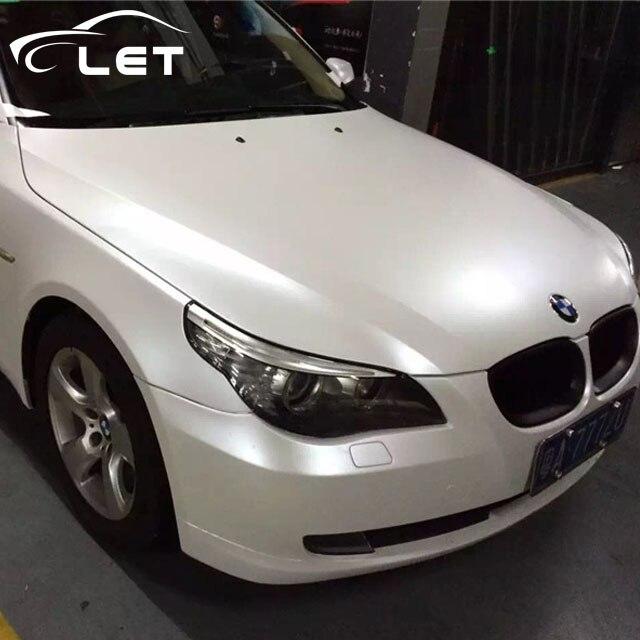 Estilo de coche mate satinado cromo cerámica blanca película de vinilo envolturas coche pegatina rollo auto hoja de decoración