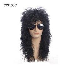 Ccutoo 70s 80s disfraces de Halloween tipo mecedora pelucas de pelo sintético rizado negro Punk Metal Rocker Disco Mullet Cosplay peluca solamente