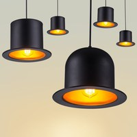 Black Painted Metal Bowler Tall Hats Hallway Pendant Light Modern Corridor Dining Room milord Hat Baking Room Pendant Lights