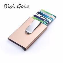 BISI GORO 2020 portatarjetas para hombre y mujer, minicartera de aluminio delgada para identificación de dinero, billetera de Metal de bloqueo RFID, billetera de viaje automática