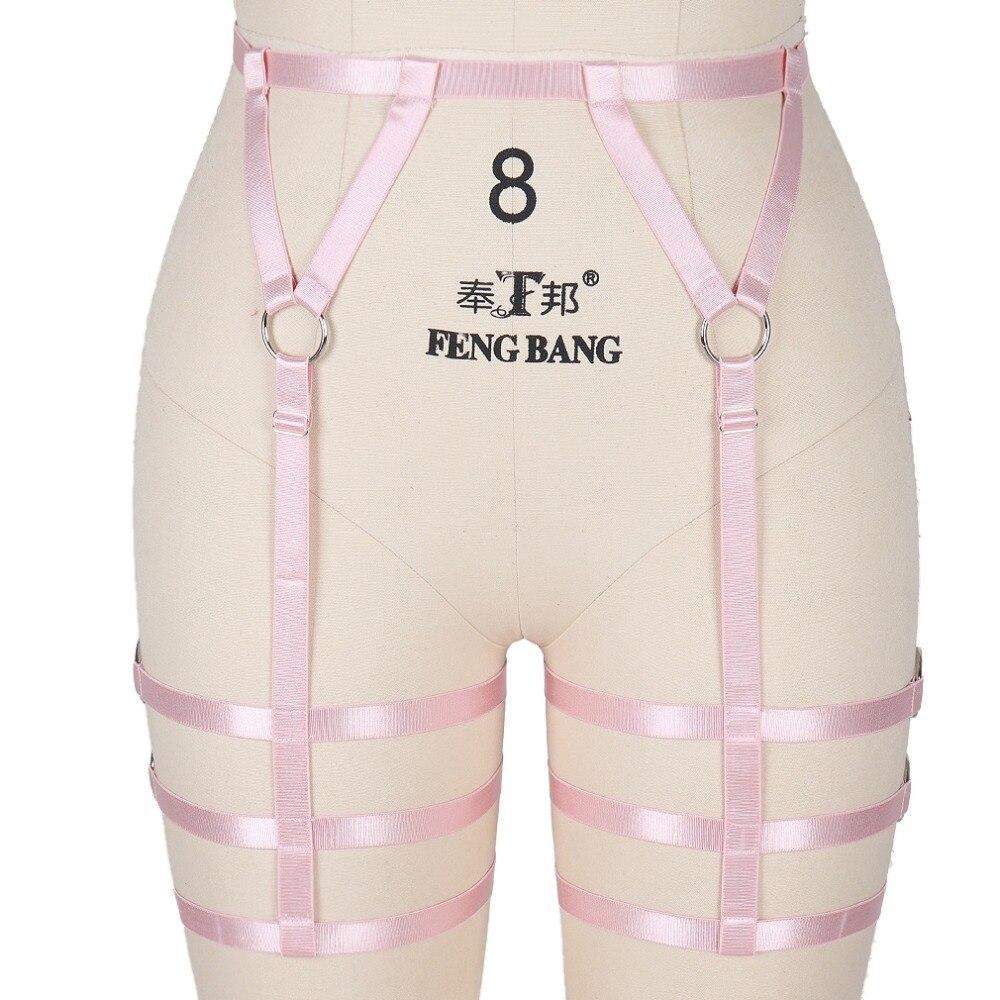 Women Garter belt Pink Body Harness Harajuku Waist Leg Cage Stockings Suspender Sexy Body Harness Bra Adjust Halloween Rave