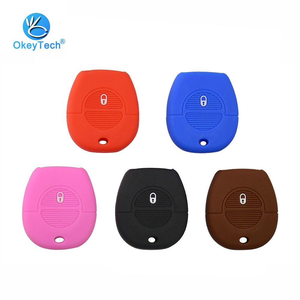 Okeytech 2 botão caso de silicone 2 botão auto carro chave capa fob protegido titular da pele para nissan micra almera primera x-trail