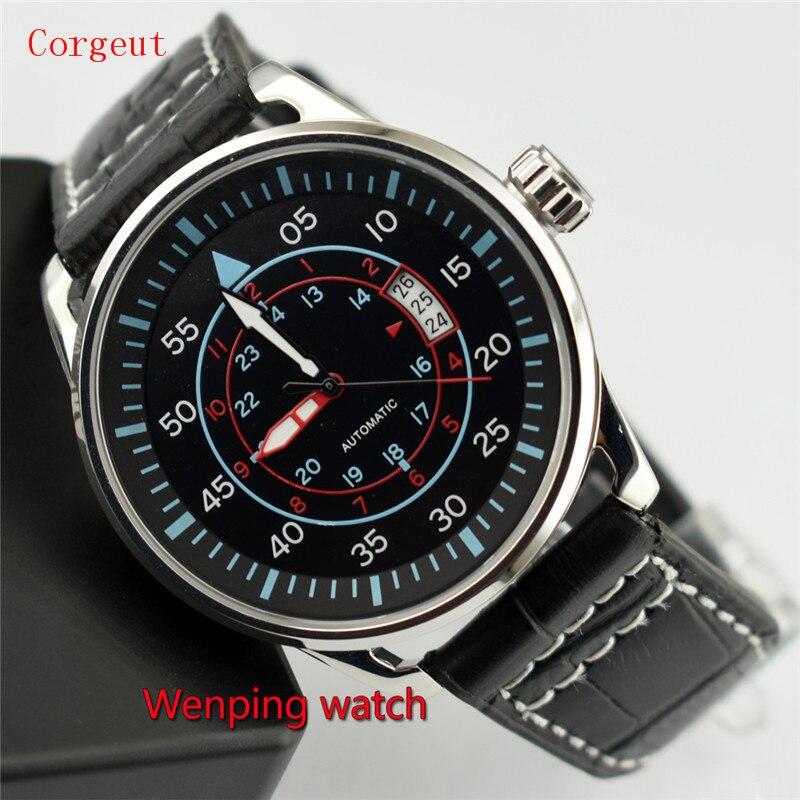 Corgeut 44 مللي متر الأسود الهاتفي الصلب حالة الحركة التلقائية الرجال تاريخ ساعة W2206