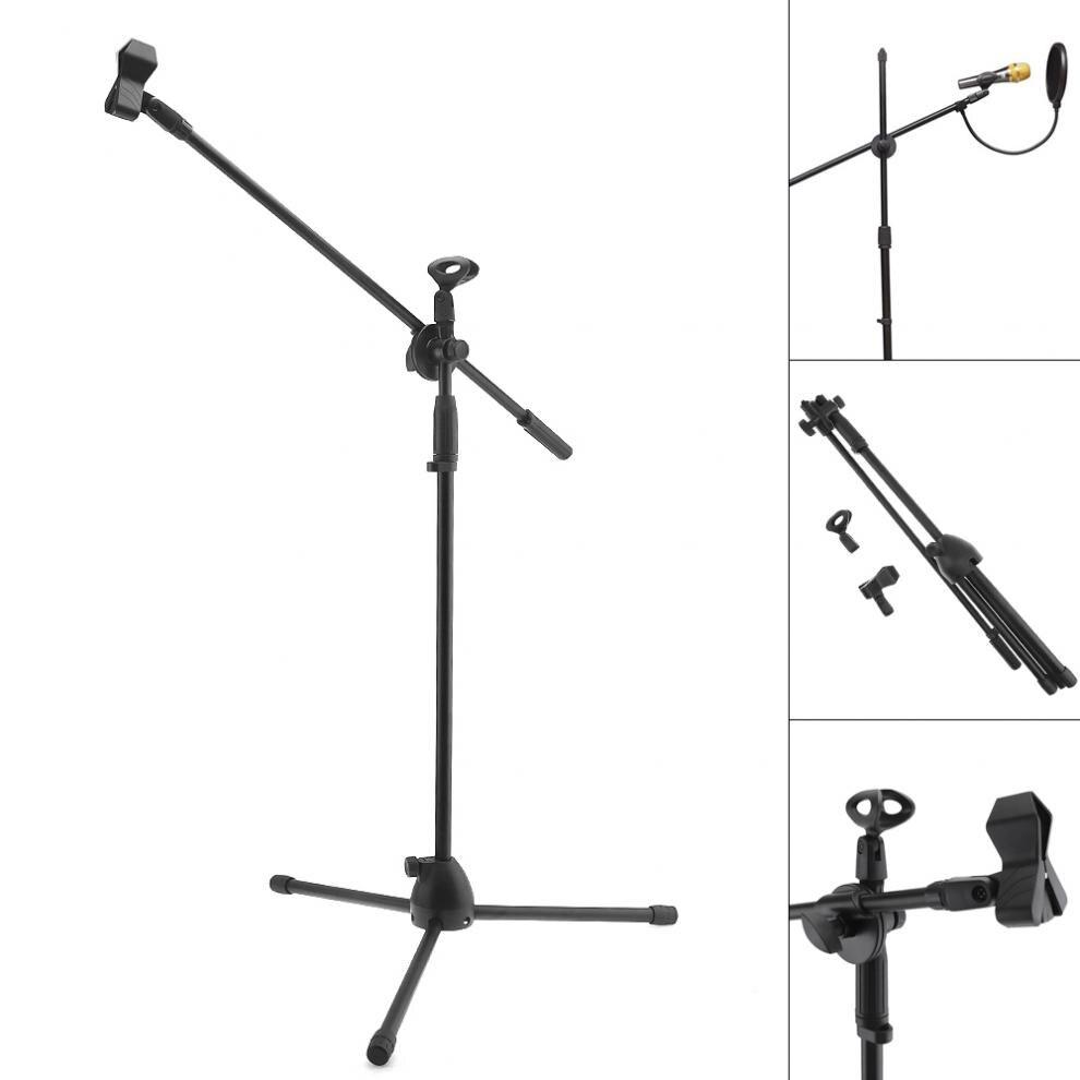 Profissional balanço boom piso suporte de metal microfone suporte estágio ajustável tripé com filtro pop para a opção