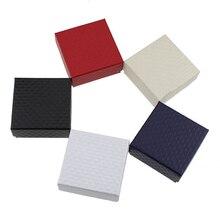 5x5x3 cm 블랙 다이아몬드 패턴 링 귀걸이 쥬얼리 디스플레이 상자 20 개/몫 종이 상자 선물 H0165