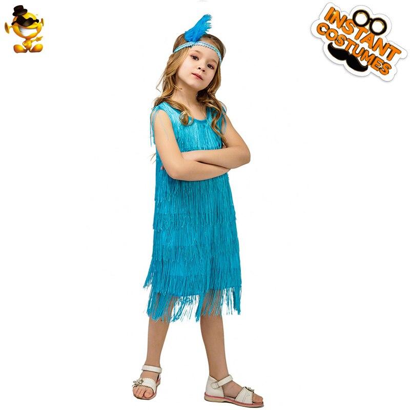 Купить с кэшбэком Kids Girl's Fashion Flapper Stain Dress Costume Halloween&Carnival Party Costumes