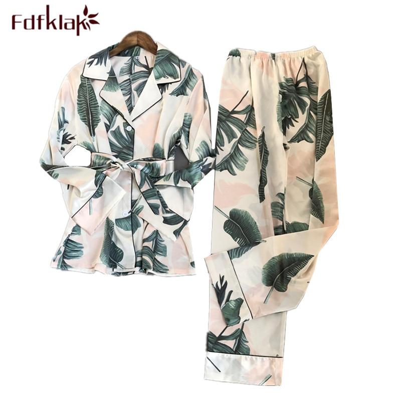 Fdfklak, chándal estampado a la moda, Pijama de satén de seda de manga larga para Mujer, Pijama para Mujer