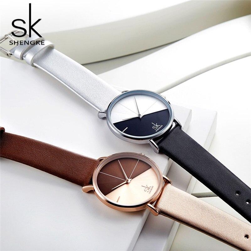 SK Luxury Leather Watches Women Creative Fashion Quartz Watches For Reloj Mujer 2018 Ladies Wrist Watch SHENGKE relogio feminino enlarge