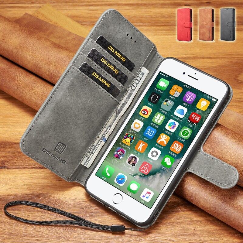 2018 Retro Capa para iPhone 6 6 s 7 8 Mais Caso Carteira Magnética para iPhone7 iPhone8 Além De Couro Da Aleta case para iphone 5 8 7 6 s 6