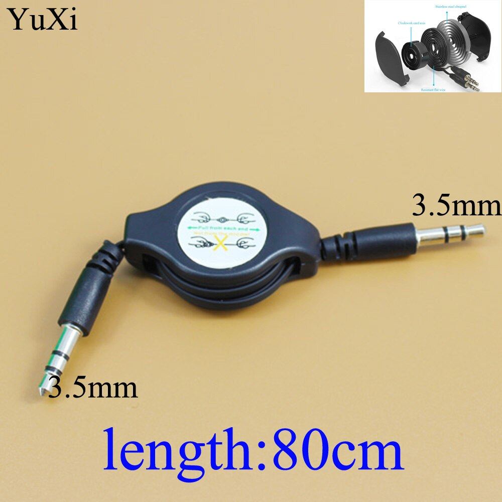3 5mm retractable stereo audio male to male data cable 65cm length YuXi  3.5mm Male to Male Jack Audio Cable telescopic Car Aux Cable Plated Auxiliary Cable retractable wire