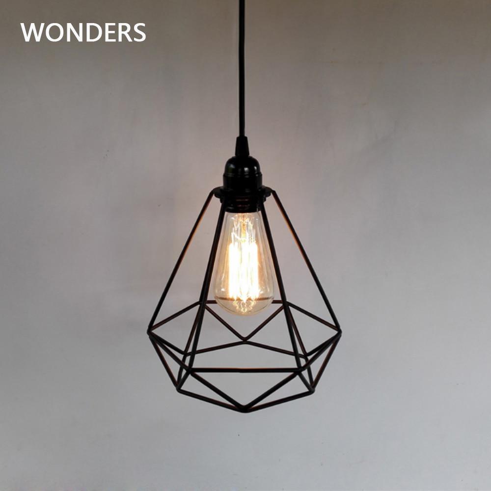 Vintage Industrial diamante jaula colgante de luz de lámpara colgante lámparas colgantes lámpara E27 hembra AC 85-240V