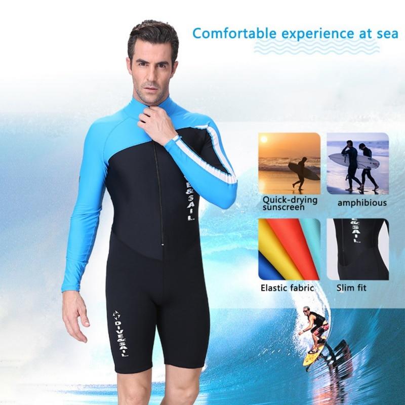 Men Women UV Wetsuit Protection Wetsuit Long Sleeve Zipper Front Swimsuit Surf Rashguard For Diving Snorkeling Swimming