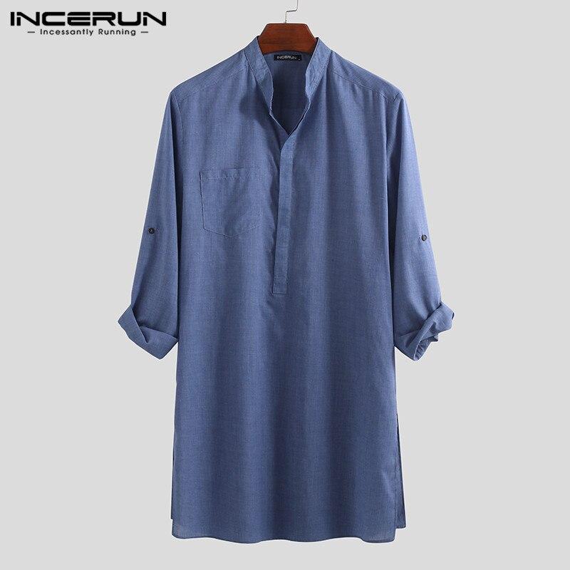 INCERUN 2020 винтажные мужские рубашки с длинным рукавом, с воротником-стойкой, однотонные повседневные топы, свободные мужские длинные рубашки, ...