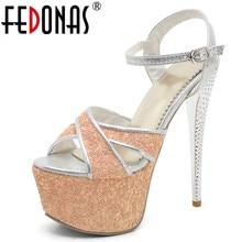 FEDONAS Ankle Strap High Heels Sandals Women Ultral Thin Heel Platforms Summer Shoes Woman Fashion Night Club Prom Dancing Pumps