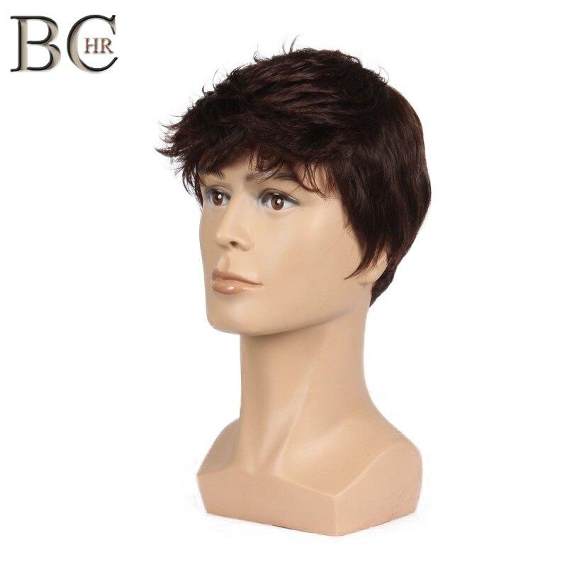 Peluca corta de hombre BCHR peluca sintética recta para el pelo masculino pelucas de peluquín marrón Natural realista
