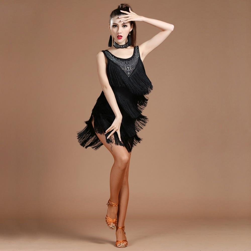 ملابس رقص نسائية ، فستان سالسا سامبا ، رقبة على شكل v ، مهدب ، فساتين لاتينية مطرزة مع أقراط ، جودة عالية ، 2018