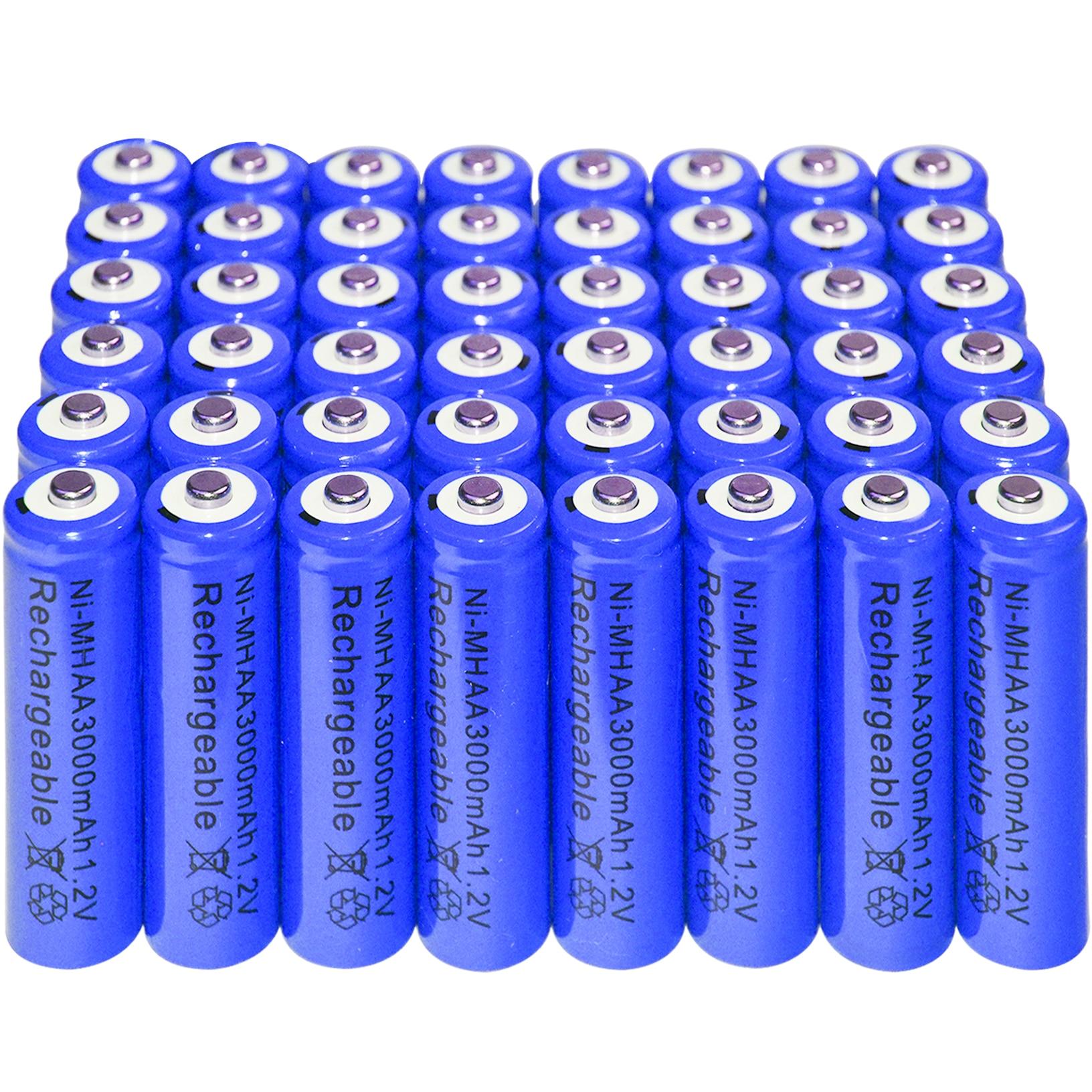 2/8/20/48 шт AA Аккумуляторная батарея Ni-MH 3000mAh 1,2 V Синяя батарея навалом никель-гидрид