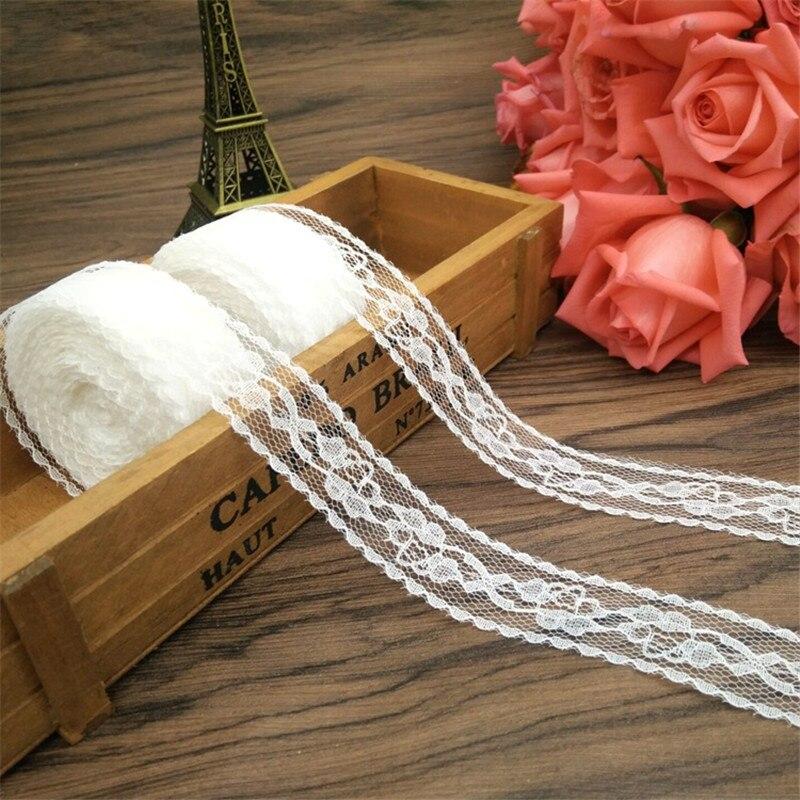 10 m/roll 2,5 cm 2019 cm blanco de alta calidad cinta de encaje ribete de encaje de tela para el bricolaje decoración para la ropa de la boda accesorios de regalo
