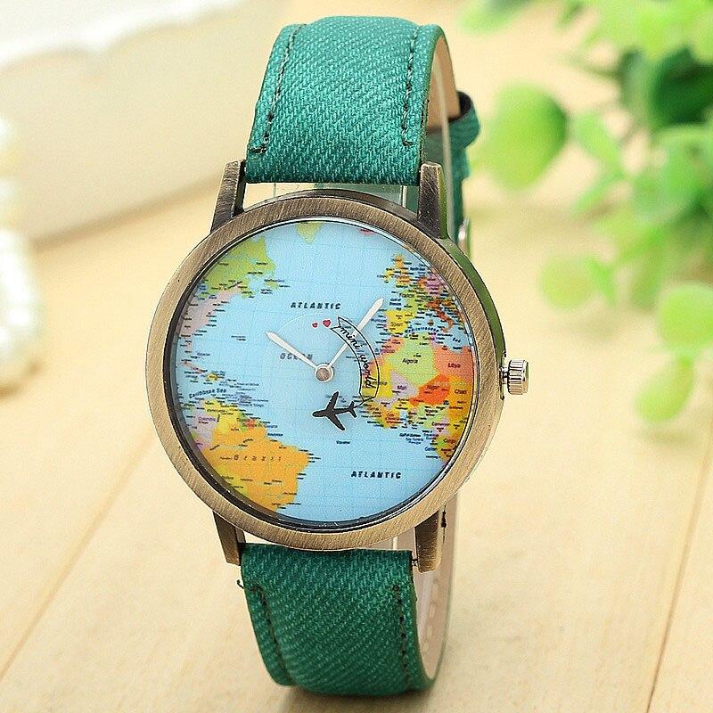 Reloj femenino de lujo para Mujer, Relojes de vestir a la moda, Relojes de tela vaquera con mapa de avión de viaje para Mujer, Relojes de Mujer
