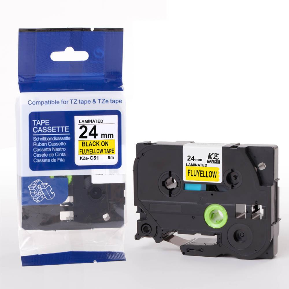 24mm TzeC51 black on fluyellow TzC51 Compatible for Brother P-touch Label Printers Laminated Tze Label Tape Tze-C51 TzC51