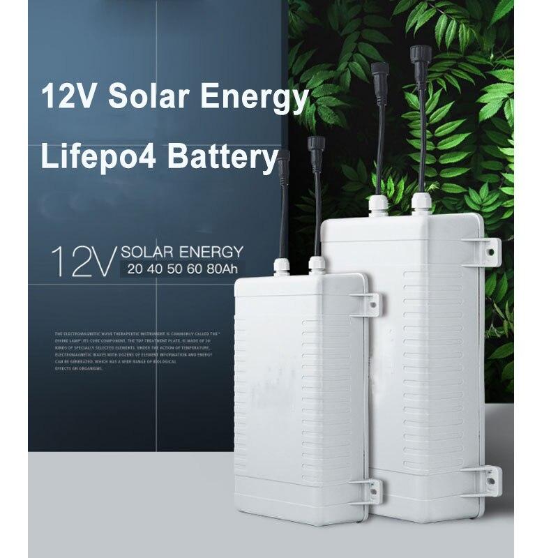 12 v Lifepo4 energia solar bateria de lítio com BMS para 20Ah/40Ah/50Ah/60Ah/80Ah câmera monitorada bateria de armazenamento de energia