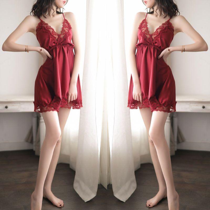 Mujer erótico bordado encaje empalme Lencería mini vestido con cuello en V profundo y de cintura alta camisón Color sólido sin espalda ropa de dormir