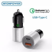 NTONPOWER mi ni de carga rápida USB 3,0 coche-cargador para Xiaomi mi 9 Huawei P30 Pro QC3.0 rápido tipo- cargador de teléfono de carga de coche C PD