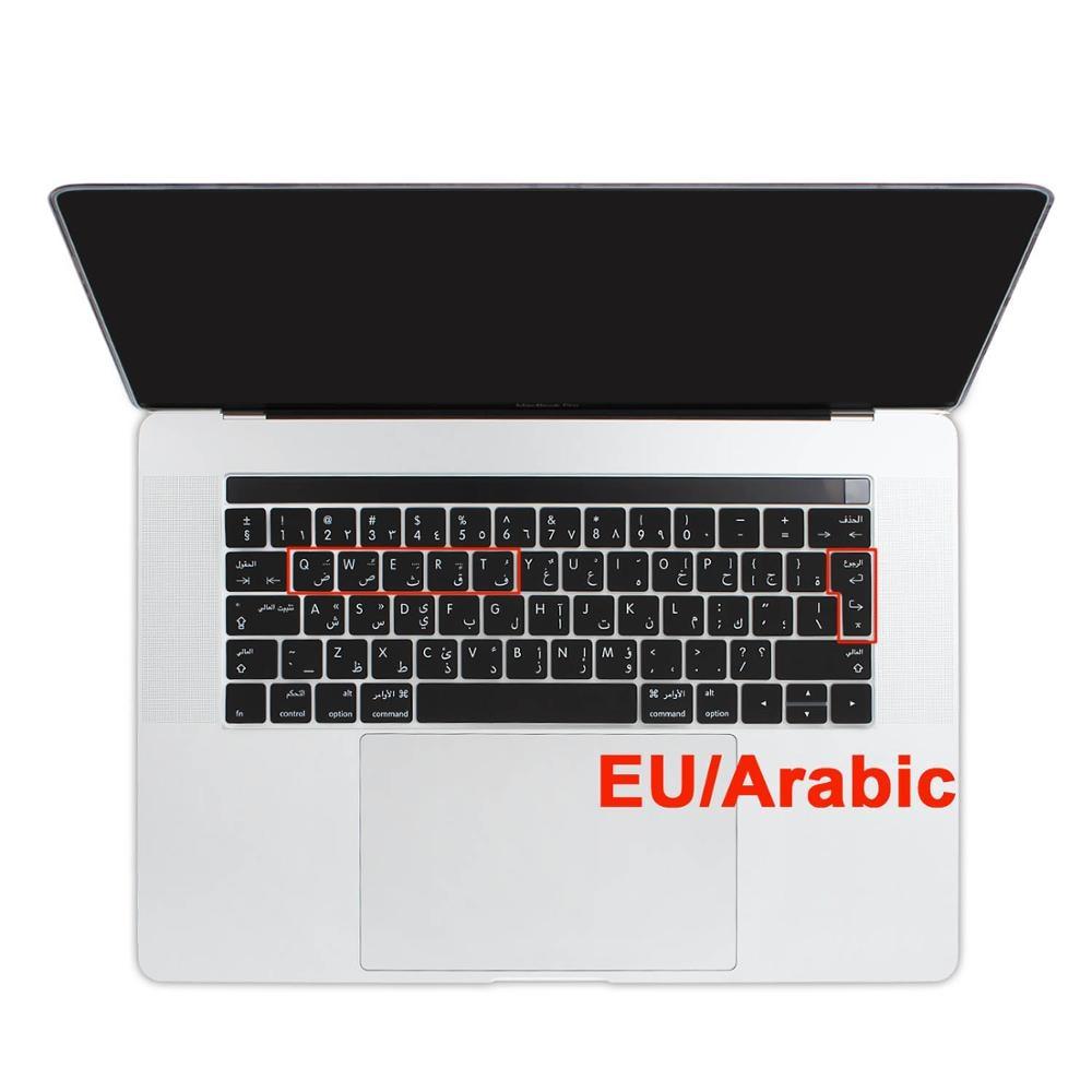 New EU Euro Enter Arabic & English Silicone Keyboard Cover For Macbook Pro Air 12 13 15 Touch Bar 2019 A1932 A1706 A1707 A1466