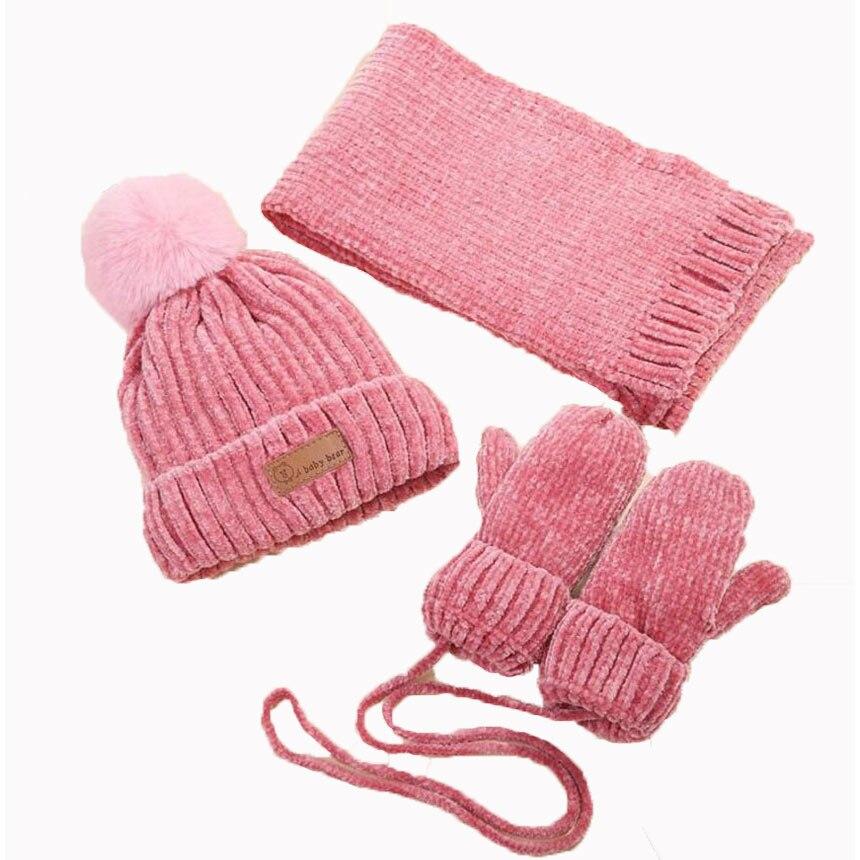Conjunto de gorro bufanda de invierno para bebé para niños y niñas, sombreros y bufandas de punto, guante de 3 uds, juego de Gorro con pompón, gorro con bufandas para niños, traje cálido M7150