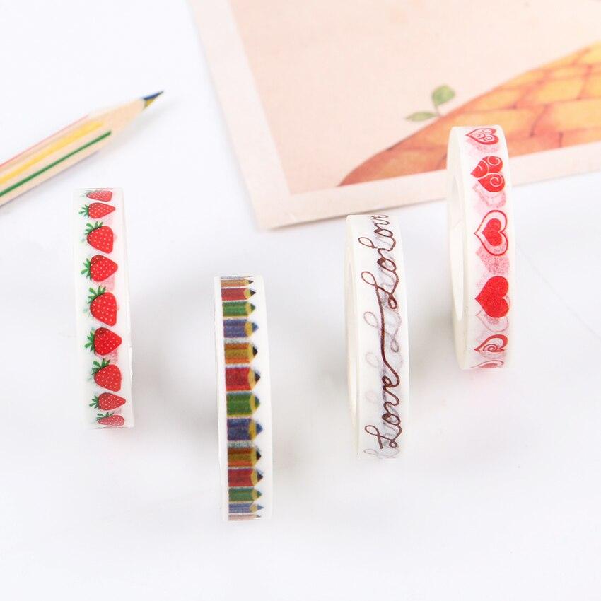 DIY cintas Washi de fresas, adhesivo para álbum de recortes con diseño de corazón, cinta adhesiva para decoración de oficina, papelería escolar 1 unidad