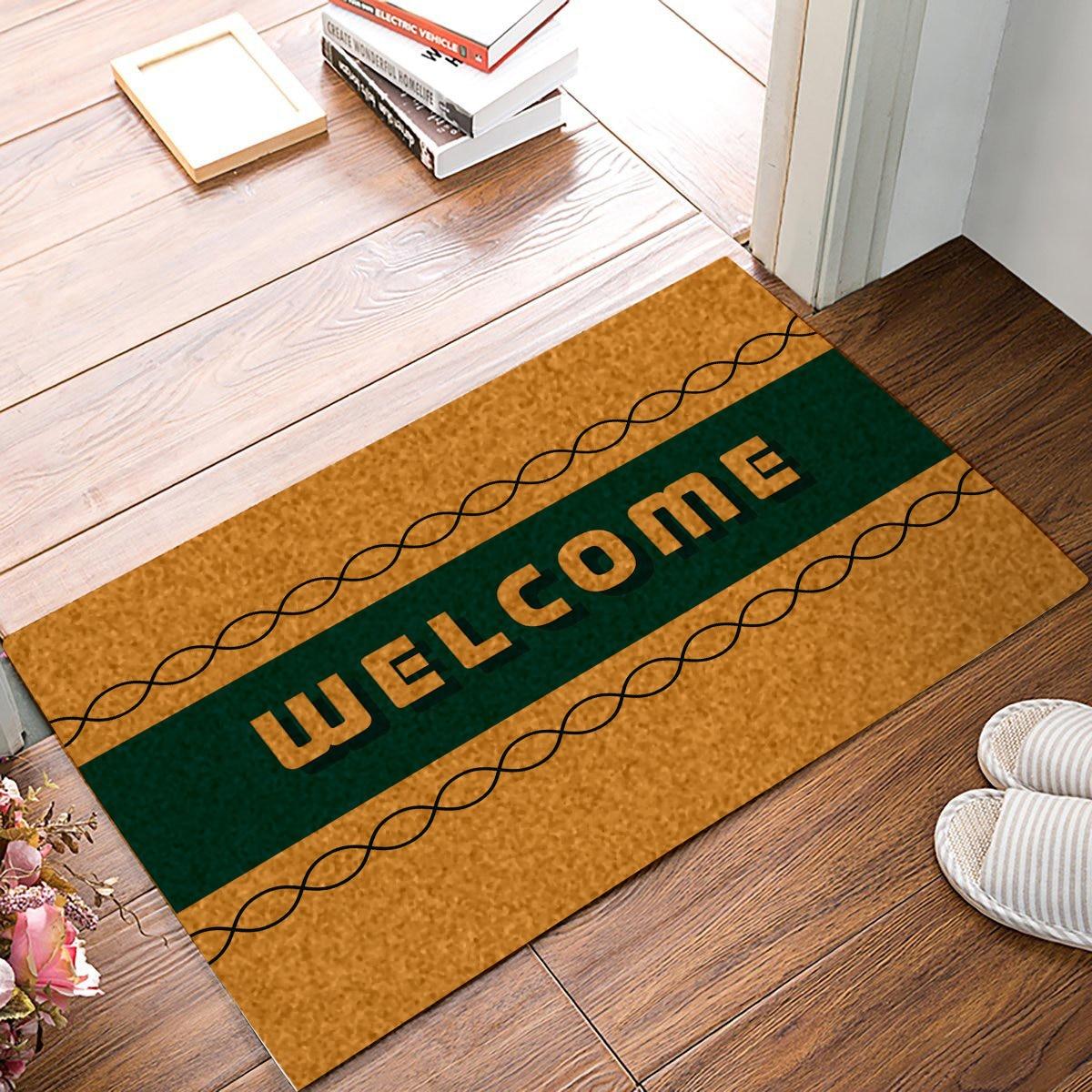 Rubber Welcome Door Mats Kitchen Floor Bath Entrance Mat Anti-Slip Indoor outdoor Decor Doormats