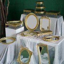 SWEETGO stojak na ciasto złote ciastko lustro tace 1 sztuka prezentacja strona główna przybory do dekoracji deser ślubny batonik dostawca