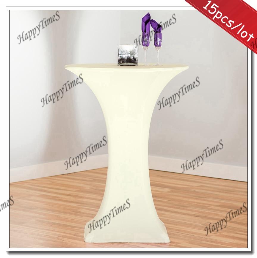 15 pçs/lote Spandex Lycra Cocktail Toalha De Mesa Cobre Na Cor Marfim Para Decoração de Casamento