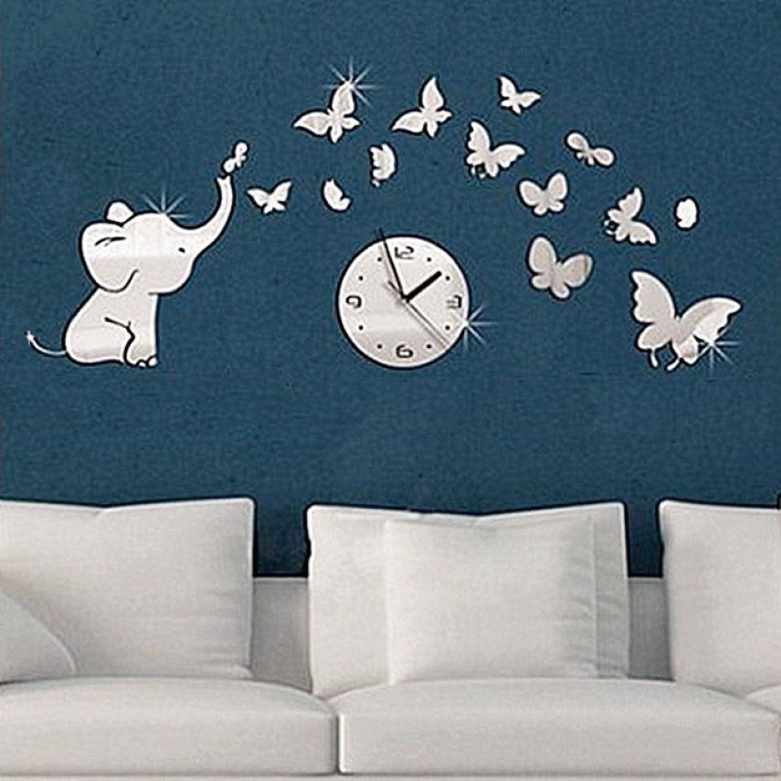 Wall Sticker DIY Funny Elephants play Butterfly Sticker DIY Mirror Wall Clock Wall Sticker Home Bedroom Kids Room Decor D38J28