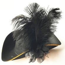 Plume Pirate chapeau adultes hommes Cosplay cour royale haut chapeaux casquettes habiller accessoires mascarade fête Halloween noël