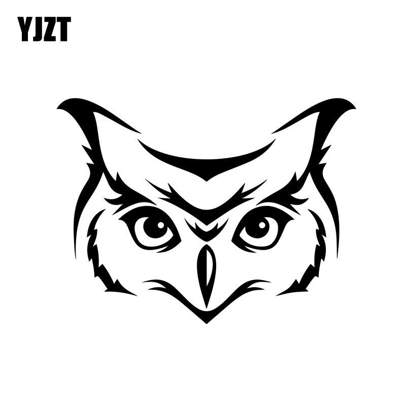 YJZT 13 cm * 9.7 cm Coruja Rosto Cabeça de Vinil Car Decal Adesivo Esboço Pássaro Aviária Preto/Prata C3-0364