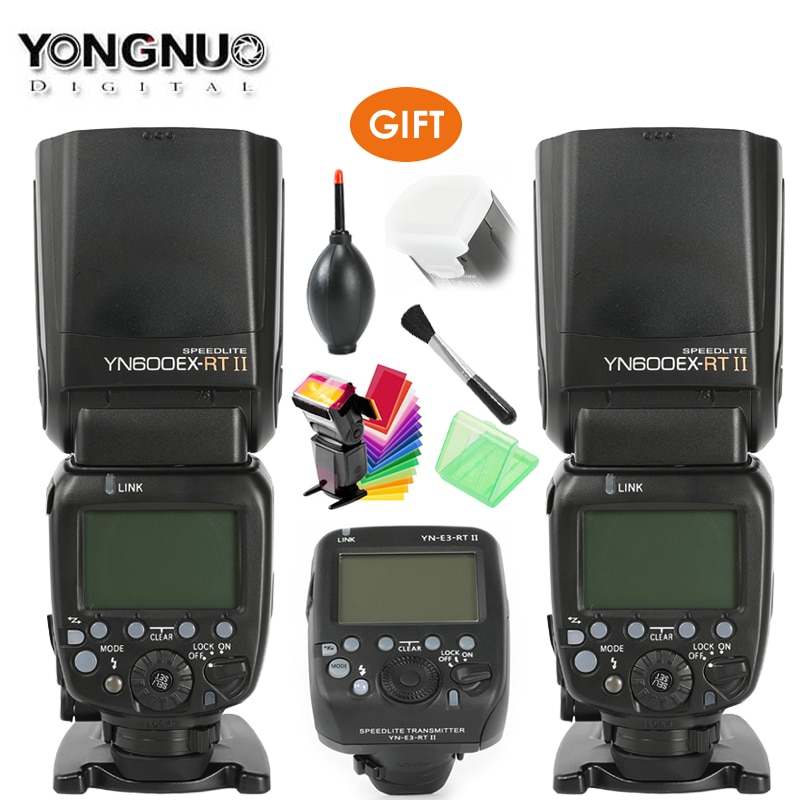YONGNUO YN600EX-RT II 2.4G اللاسلكية الأحرار 1/8000s ماستر فلاش Speedlite + YN-E3-RT TTL راديو الزناد Speedlite الارسال + هدية
